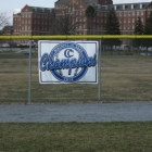 First of many championship banners to hang on Cedar Crest baseball field