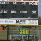 The scoreboard in right field at Palmyra is reachable